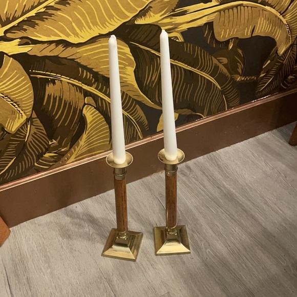 Walnut & gold brass mid century candlestick holder